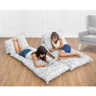 Gray and White Damask Floor Pillow Lounger Cover by Sweet Jojo Designs (Pillows Not Included)