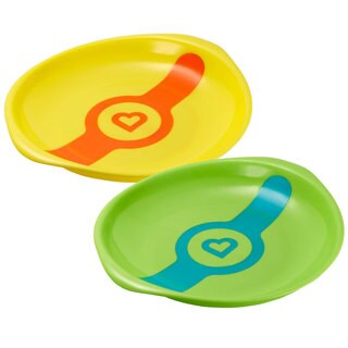 Munchkin Yellow and Green White Hot Feeding Plates (2 Pack)