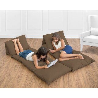 Sweet Jojo Designs Chocolate Brown Microsuede Floor Pillow Lounger Cover (Pillows Not Included)