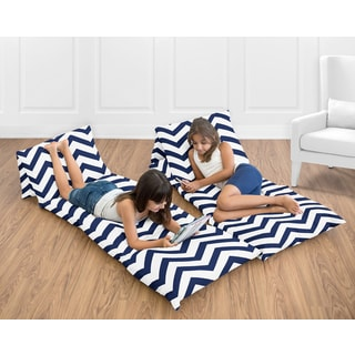 Sweet Jojo Designs Navy Blue and White Chevron Collection Floor Pillow Lounger Cover