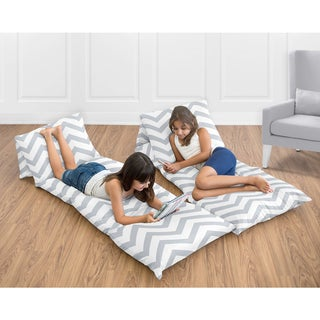 Sweet Jojo Designs Floor Pillow Lounger Cover for the Grey and White Chevron Collection (Pillows Not Included)