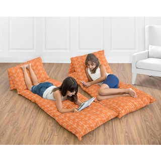 Sweet Jojo Designs Orange/Navy Blue Arrow Collection Floor Pillow Lounger Cover (Pillows Not Included)