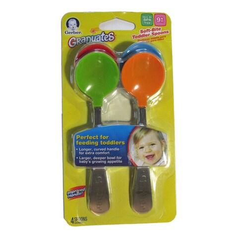NUK Gerber Graduates Multicolored Silicone Boy Soft Bite Toddler Spoon (4 Pack)