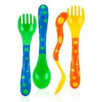 Nuby Yellow/Green Spoon and Fork (Set of 4)