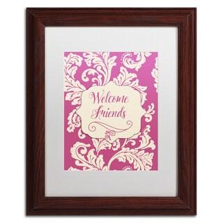 Color Bakery 'Welcome Flag Pink' Matted Framed Art