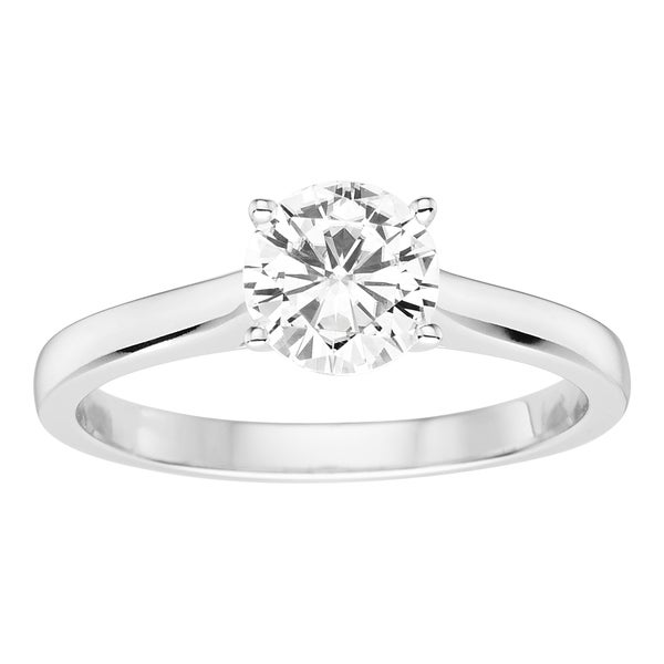 Charles & Colvard 14k White Gold 1ct DEW Round Forever Brilliant Moissanite Solitaire Ring