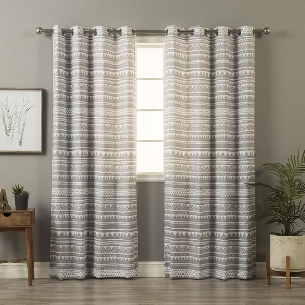 Shop Aurora Home Geometric Tribal Print Curtain Panel Pair