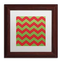 Color Bakery 'Xmas chevron 9' Matted Framed Art - Green