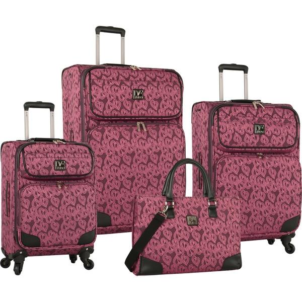 Diane Von Furstenberg Hearts Jacquard 4-piece Expandable Spinner Luggage Set
