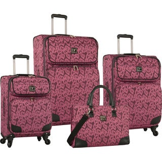 Diane Von Furstenberg Hearts Jacquard 4-piece Expandable Spinner Luggage Set