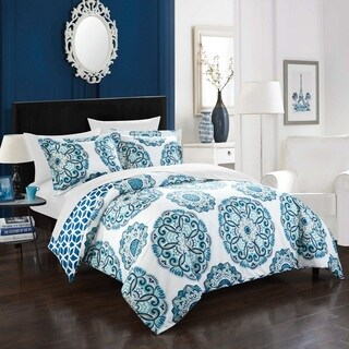 Chic Home 3-Piece Aragona Blue Reversible Duvet Cover Set