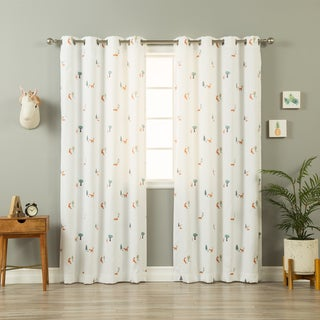 Aurora Home Scandinavian Woodland Fox White Curtain Panel Pair