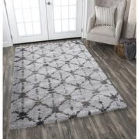 Adana Dark Grey Ivory Diamond/Geometric Area Rug  (5'3 x 7'3)