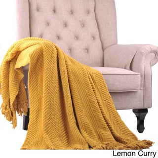 Boon Knitted Tweed 50 x 60-inch Couch Throw (Option: Lemon Curry)