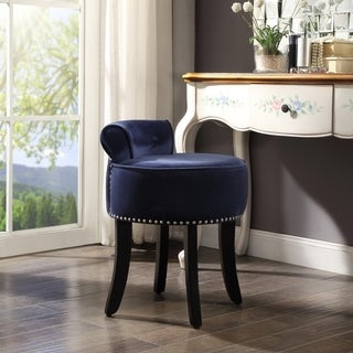 West Velvet Contemporary Nailhead Trim Rolled Back Vanity Stool