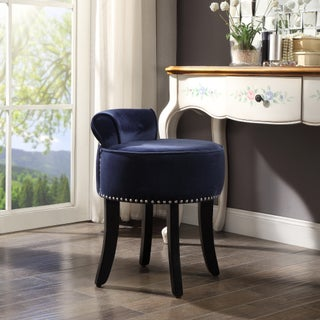 West Velvet Contemporary Nailhead Trim Rolled Back Vanity Stool (5 options available)