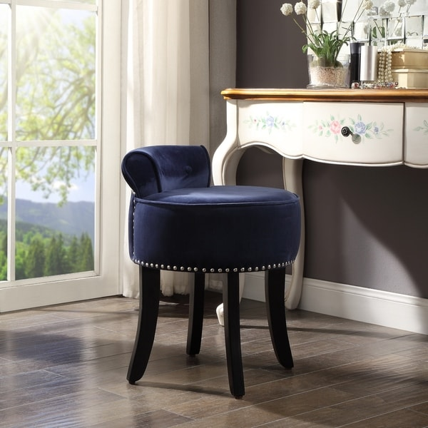 Copper Grove Meghri Velvet-upholstered Vanity Stool with Rolled Back and Nailhead Trim. Opens flyout.