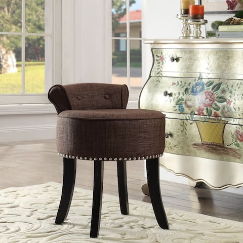 West Linen Contemporary Nailhead Trim Rolled Back Vanity Stool