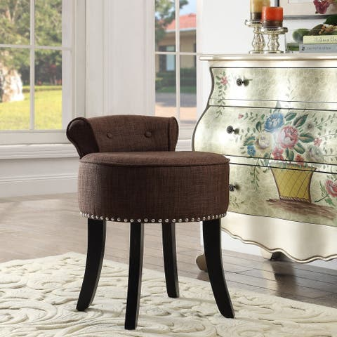 Copper Grove Meghri Linen-upholstered Vanity Stool with Rolled Back and Nailhead Trim