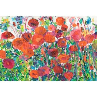 Plentiful Poppies' Painting Print on Wrapped Canvas - Orange (More options available)