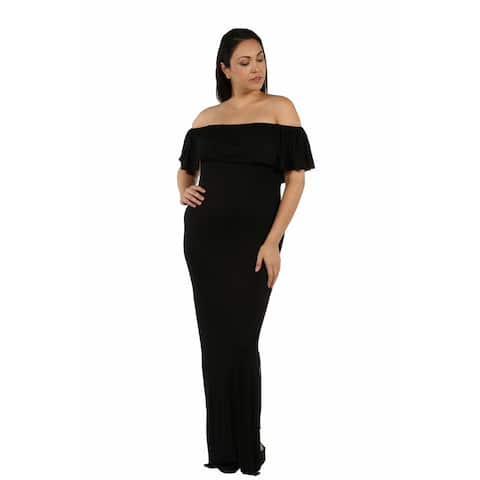 24/7 Comfort Apparel Long Cool Woman Off the Shoulder Plus Size Dress