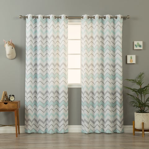 Aurora Home Mint and Grey Wave Chevron Pattern Curtain Panel Pair