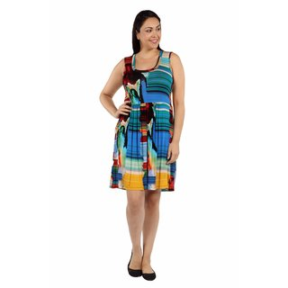 24/7 Comfort Apparel French Watercolor Plus Size Shift Dress