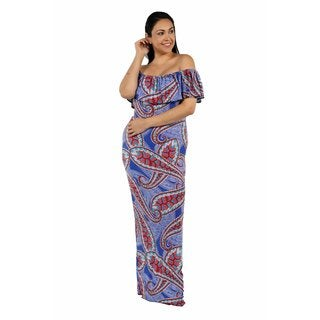 24/7 Comfort Apparel Flower Wave Off the Shoulder Dress