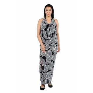 24/7 Comfort Apparel Pretty Palms Cowl Neck Plus Size Dress