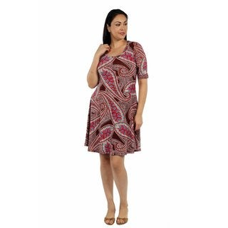 24/7 Comfort Apparel Pretty Paisley Plus Size Dress