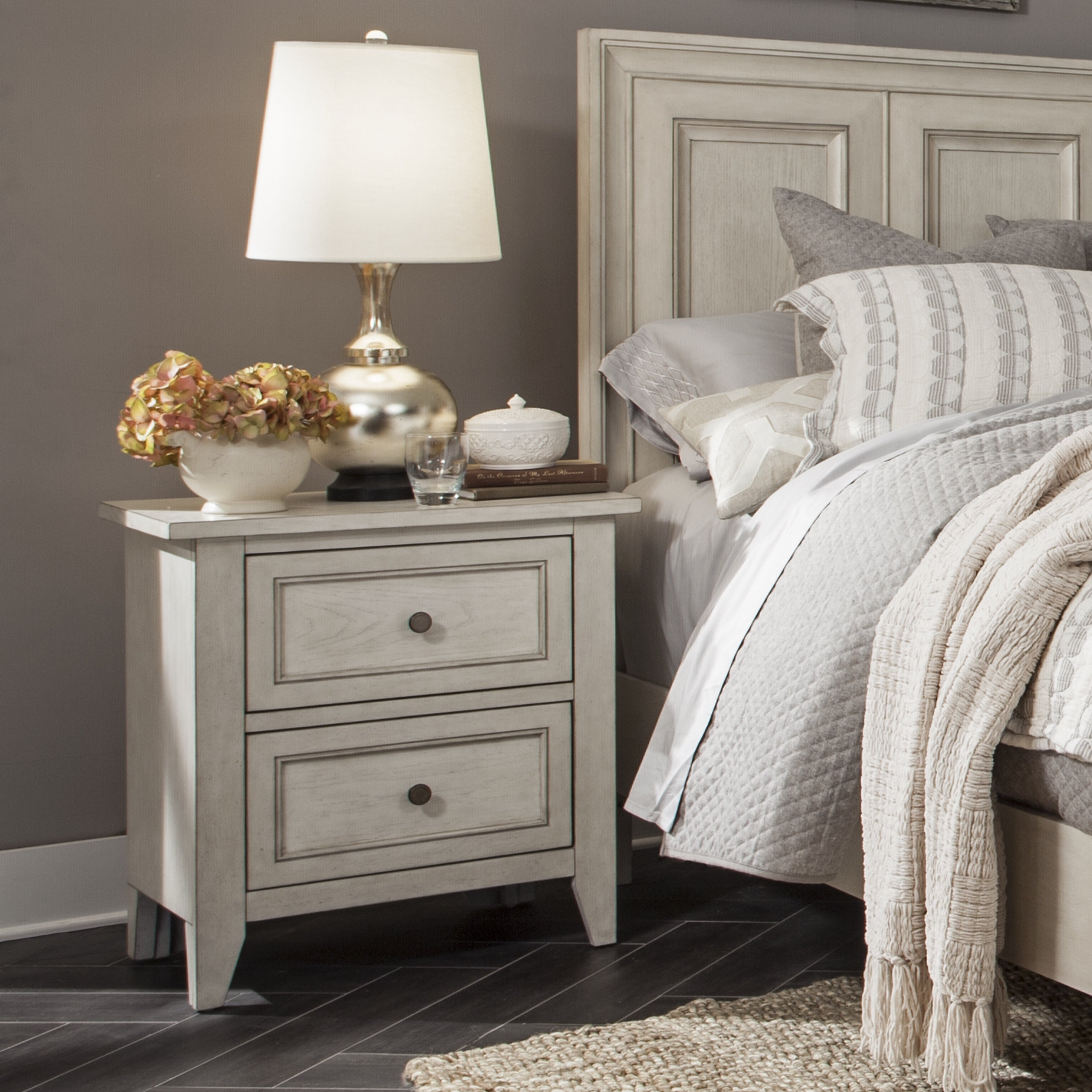 Raelynn 2 Drawer Nightstand In Weathered White Overstock 14743326