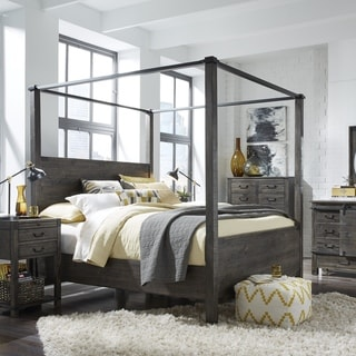 Abington Weathered Charcoal Wood and Aged Iron King-Size Poster Bed