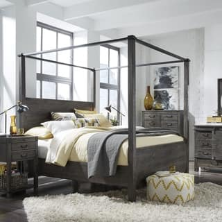 Abington Weathered Charcoal Wood And Aged Iron King Size Poster Bed