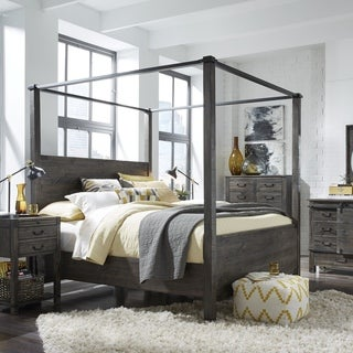 Abington Weathered Charcoal Wood and Aged Iron King-Size Poster Bed & King Size Canopy Bed For Less | Overstock.com