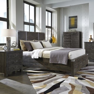 Abington Panel Bed with Storage in Weathered Charcoal