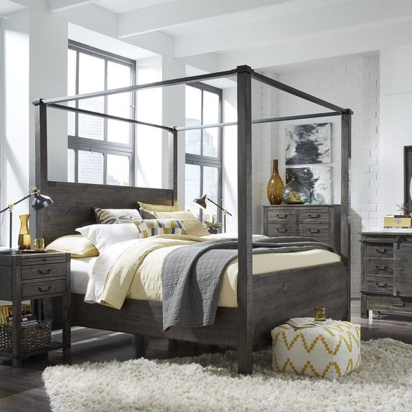 Abington Weathered Charcoal Wood And Aged Iron Queen Size Poster Bed