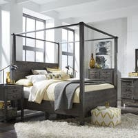 Abington Weathered Charcoal Wood and Aged Iron Queen-Size Poster Bed
