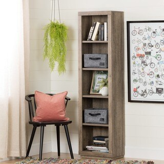 South Shore Kanji Weathered Oak 5-Shelf Narrow Bookcase with 2 Small Woven Felt Baskets