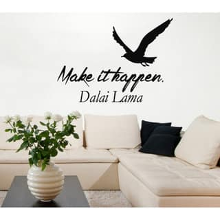 Shop Quote Make It Happen Sea Gull Words Vinyl Sticker Home Birds Art Mural Interior Design Sticker Decal Size 33x39 Color Black On Sale Overstock 14743594