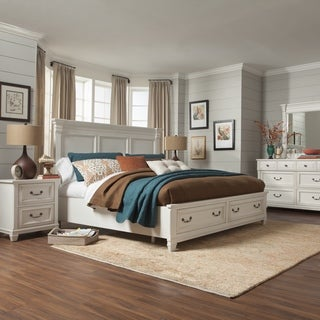 Brookefield Cotton White Panel Bed with Storage