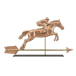 Jumping Horse & Rider Pure Copper Weathervane Sculpture on Mantel Stand: Home Decor by Good Directions