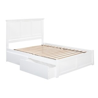 Madison White King-Size Flat Panel Storage Bed with 2 Under Bed Drawers