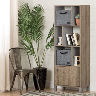 South Shore Expoz 6-Cube Shelving Unit with Door and 2 Large Woven Felt Baskets
