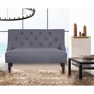 US Pride Furniture Mid Century Tufted Linen Upholstered Loveseat