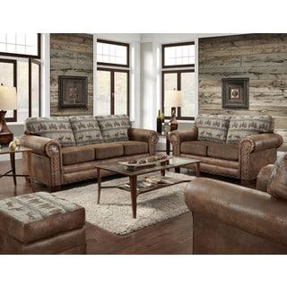 American Furniture Classics Deer Teal Lodge and Brown Microfiber Upholstered 4-Piece Sofa Set