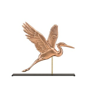 Graceful Blue Heron Pure Copper Weathervane Sculpture on Mantel Stand: Home Decor by Good Directions