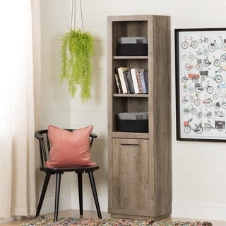 South Shore Kanji Weathered Oak 3-Shelf Bookcase with Door and 2 Knit Baskets