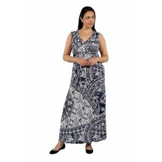 24/7 Comfort Apparel Indigo Seas Plus Size Maxi Dress