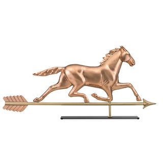Large Horse Pure Copper Weathervane Sculpture on Mantel Stand: Home Decor by Good Directions