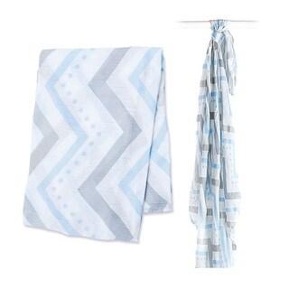 Lulujo Blue Chevron Bamboo Muslin Swaddle Blanket